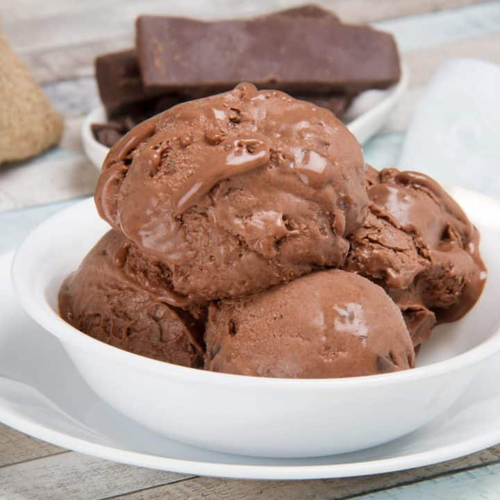 Super Creamy Keto Chocolate Ice Cream - No Churn & Churn Versions