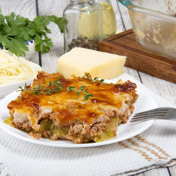 Keto Zucchini Lasagna With Meat And Bechamel Sauce