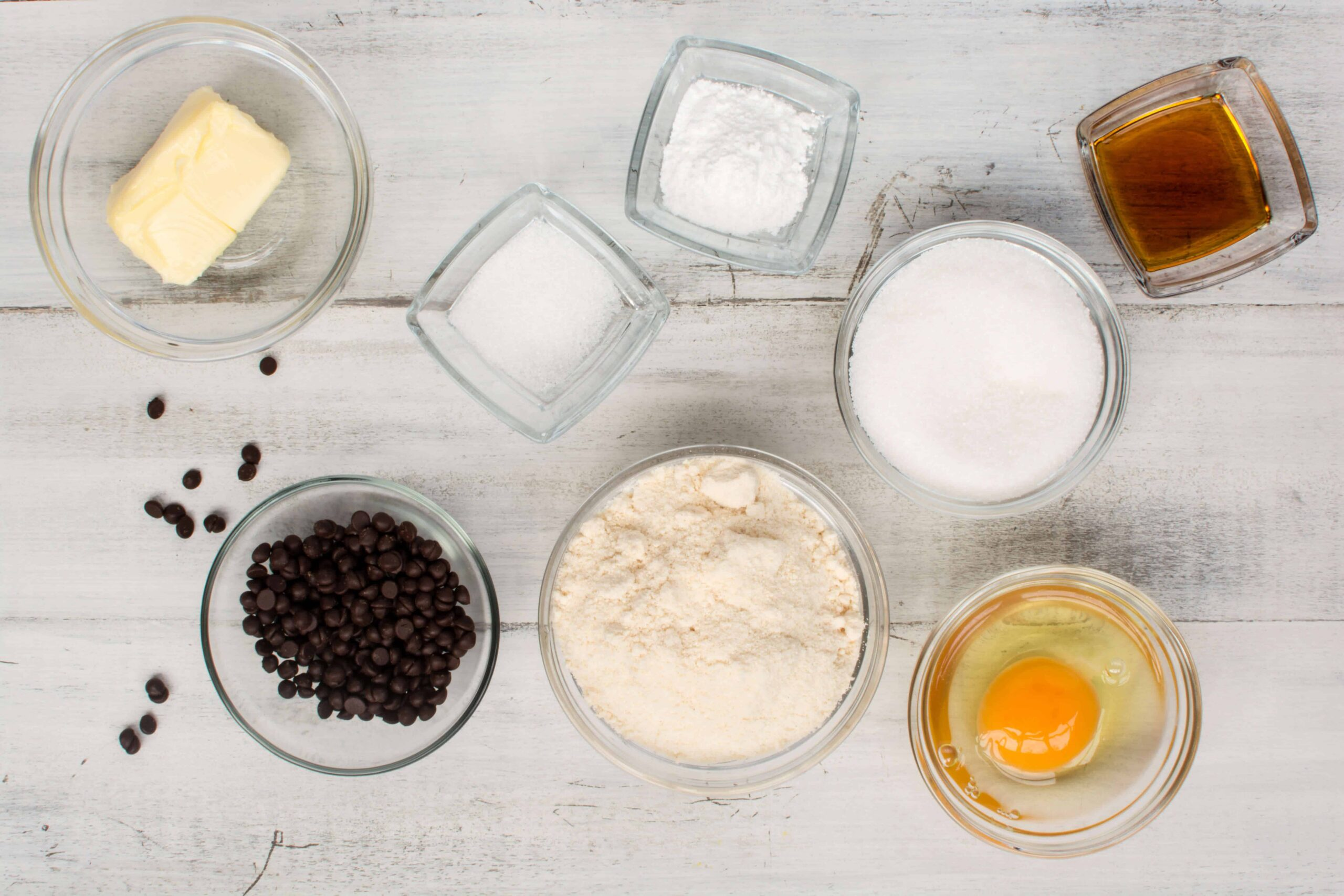 ingredients for making low carb chocolate chip cookies