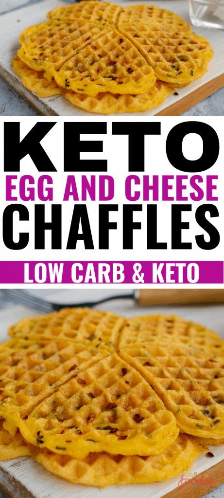 THE BEST Keto egg and cheese chaffles! I love these yummy keto egg and cheese waffles so much! They're delicious and an easy keto breakfast recipe to make as these are 2 ingredient keto chaffles mad ein under 10 minutes! I'm definitely going to make these low carb chaffles as I love the taste of savory keto chaffles ! Definitely pinning for later! #keto #ketorecipes #ketobreakfast #chaffles #ketochaffles #ketowaffles