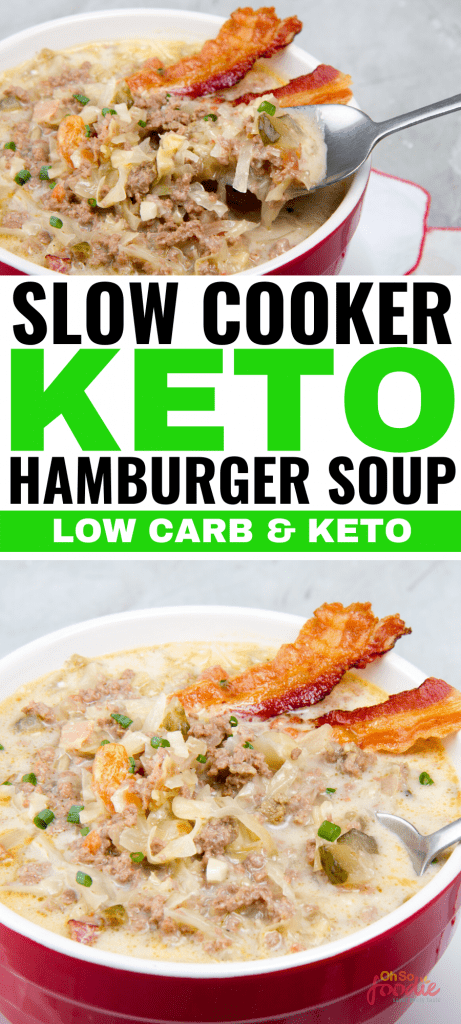 This easy slow cooker keto hamburger soup is THE BOMB! This keto soup is made with ingredients like cabbage, cream cheese, rotel and ground beef for a creamy and delicious hamburger soup that is keto friendly! The entire family will enjoy this keto family meal! #keto #ketorecipes