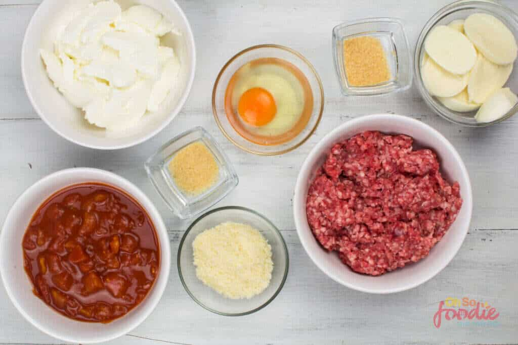 ingredients for noodle-less lasagna
