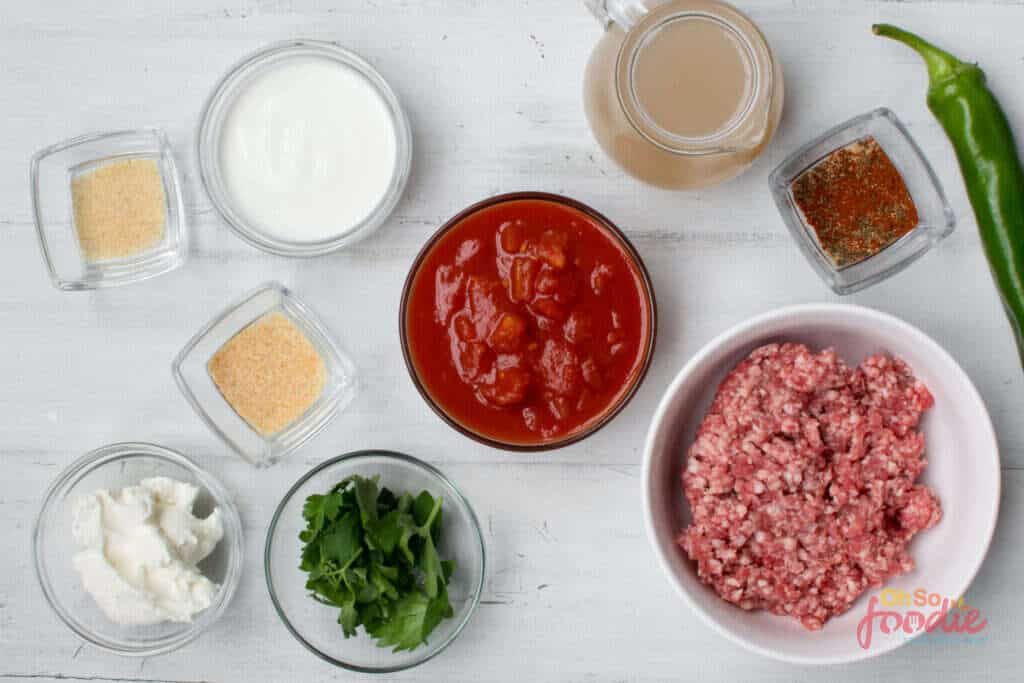 ingredients for keto beef taco soup