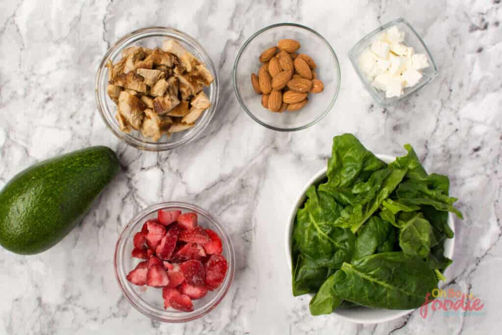 ingredients for Keto Strawberry Spinach Salad