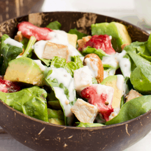 Healthy Keto Strawberry Spinach Salad With Chicken