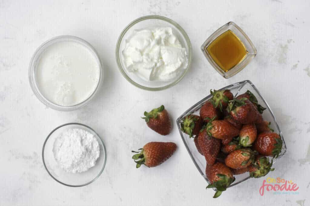 ingredients to make strawberry ice cream