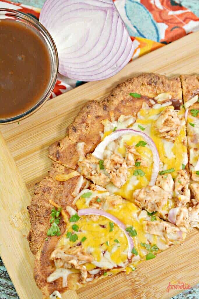 Fathead dough BBQ chicken pizza