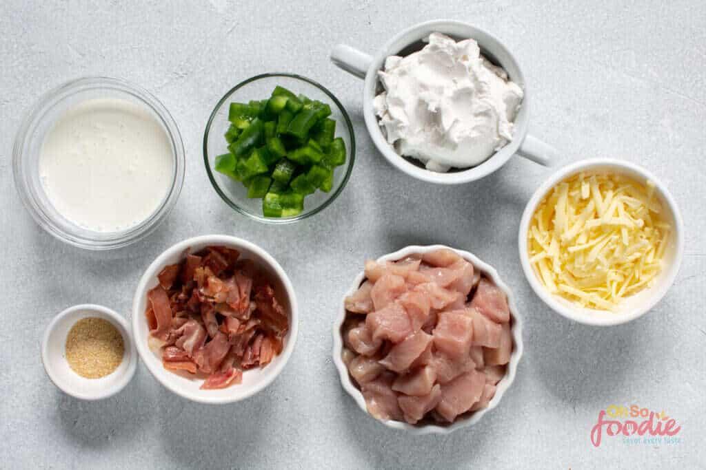 ingredients for keto jalapeno popper chicken casserole