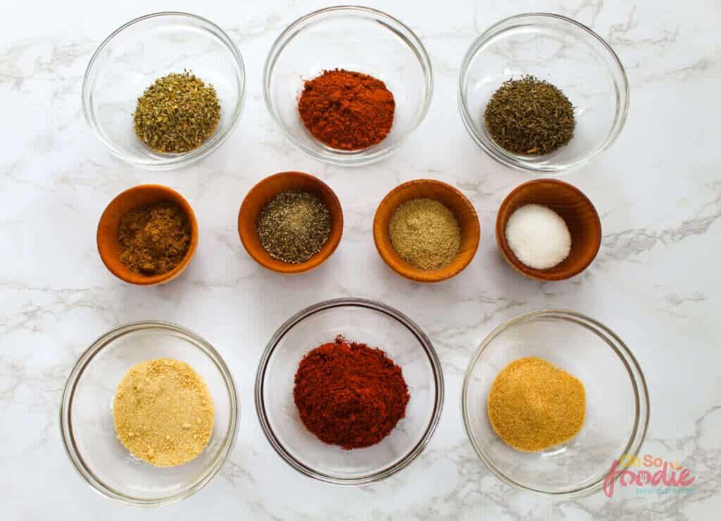 ingredients to make homemade cajun seasoning